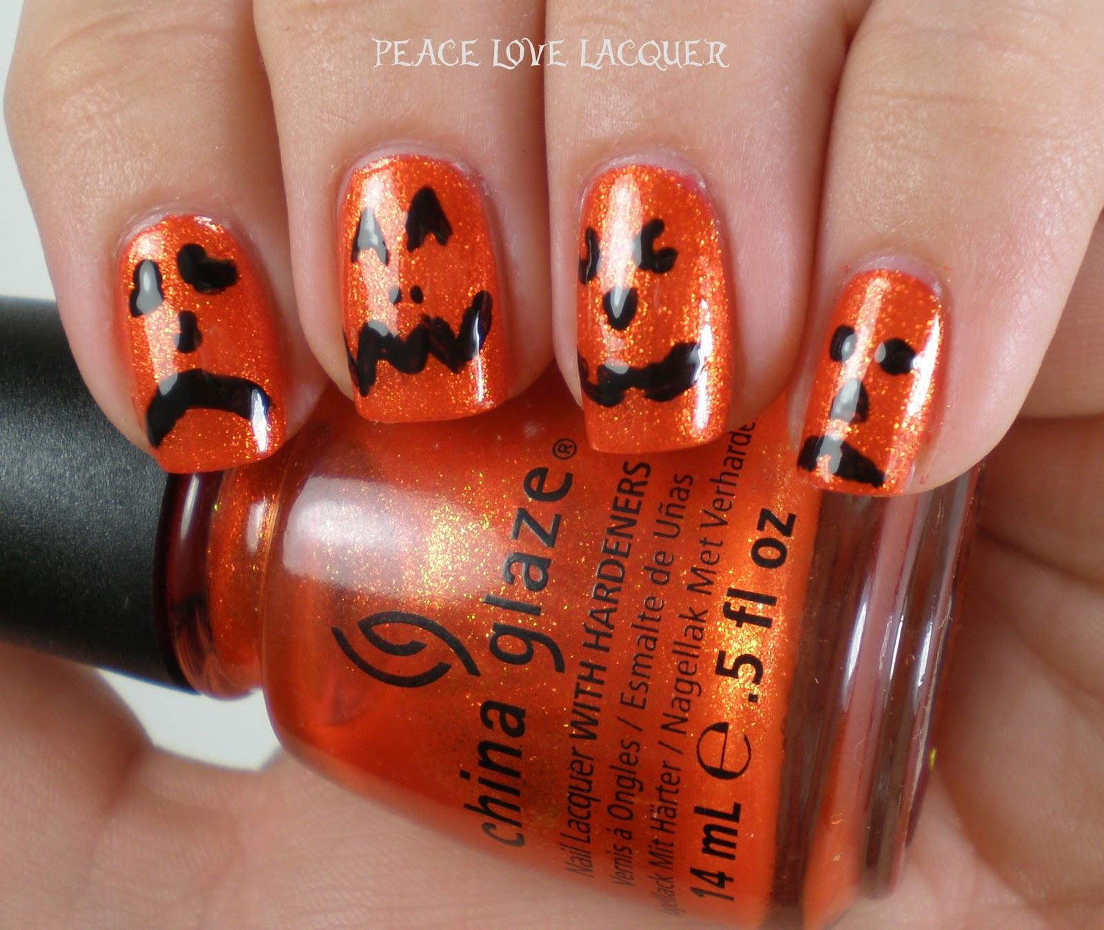 Peace Love Lacquer: Halloween Nail Art - Jack-o-Lanterns