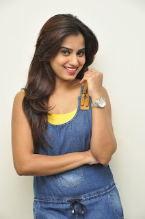 Dimple Chopade in lovely Denim Jumpsuit and Yellow Camisole at Krishnashtami Success Meet