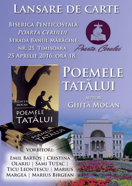 """Lansare de carte: """"POEMELE TATĂLUI """" la Poarta Cerului - 25 aprilie 2016"""