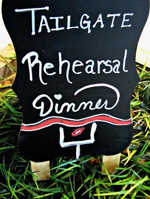 football, tailgate, party, decor, wedding, rehearsal