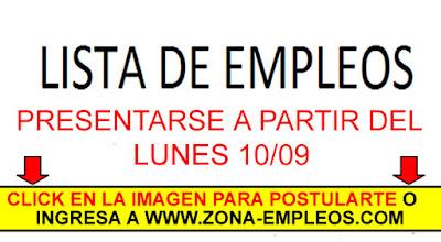 EMPLEOS PARA PRESENTARSE A PARTIR DEL 10/09