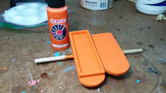 2017-05-08 18.20.48 - Wooden Toy - Play Pal - Trailer - Truck - Orange - Anita's - Acrylic - Craft - Paint