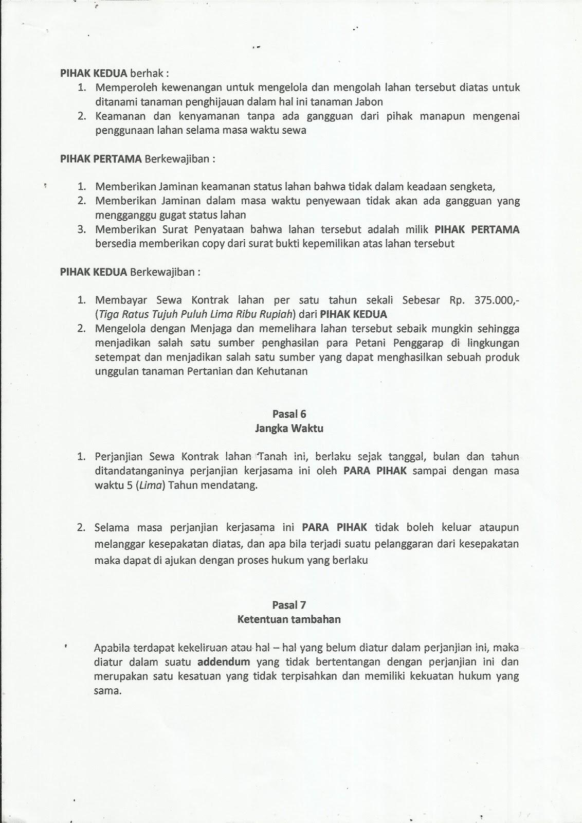 Gerakan Nusantara Hijau Contoh Surat Perjanjian Sewa Kontrak Lahan