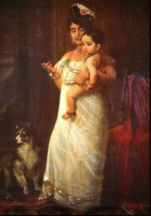 Raja Ravi Varma's Paintings: Malayali Women with Dog Feeding Her Child