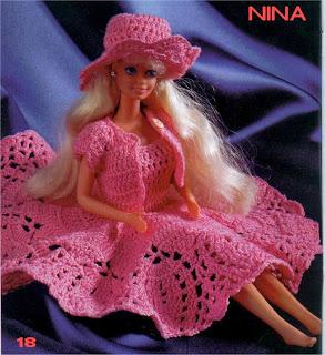 Nina, Roupa de Crochê Para Barbie Com Gráfico, vestido, chapéu e casaquinho - robe, chapeau et bolero de poupée - dress and hat for dolls