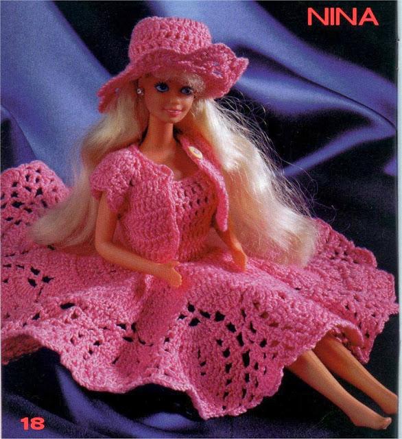 Nina, Roupa de Crochê Para Barbie Com Gráfico, vestido, chapéu e casaquinho - robe, chapeau et bolero de poupée - dress and hat for dolls 1