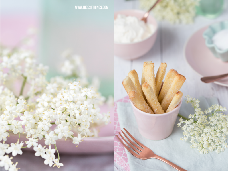 Makro Holunderblueten, Rezept für Cookie Fries
