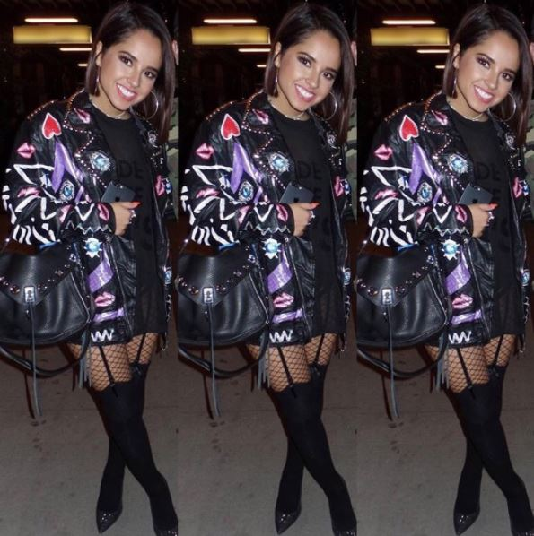 Becky G in Leather Jacket and Skir