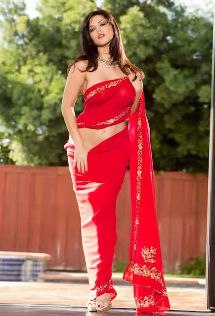 Sunny%252BLeone%252BRed%252BSaree%252BPhotos%252B%25282%2529 - Sunny Leone's Extreme Sexiest 3 Collections In Saree even try to show her Booms-SUNNY LEONE ka SEXY