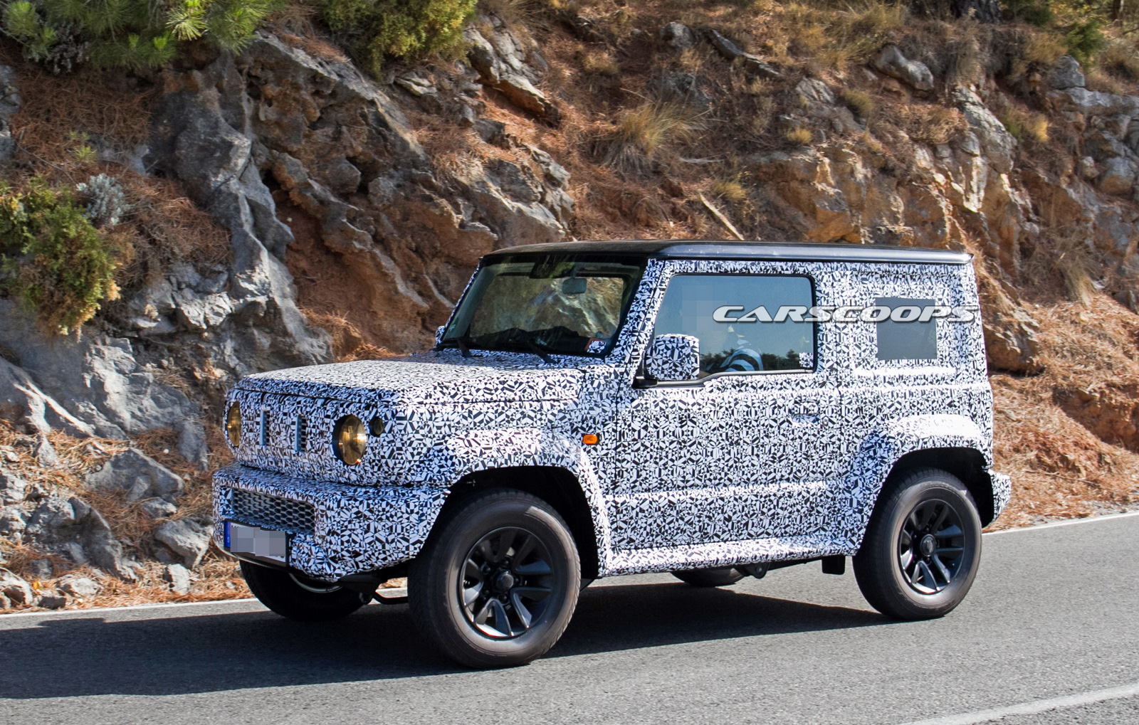 suzuki jimny replacement spotted on public roads for the first time carscoops. Black Bedroom Furniture Sets. Home Design Ideas