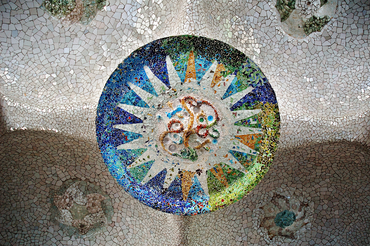 Ceiling mosaic at the 100 Columns hall in Park Güell, Barcelona