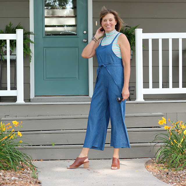 Sew House Seven's Burnside Bibs made from Style Maker Fabrics' Tencel Denim