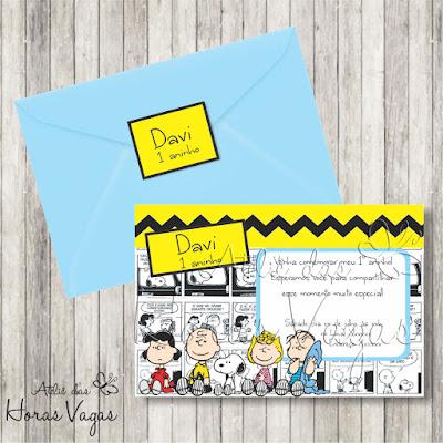 convite aniversário infantil artesanal personalizado turma do snoopy e charlie brown menino quadrinhos festa bebê envelope adesivo tag