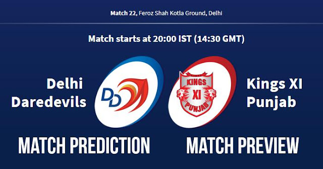 IPL 2018 Match 22 DD vs KXIP Match Prediction, Preview and Head to Head: Who Will Win?