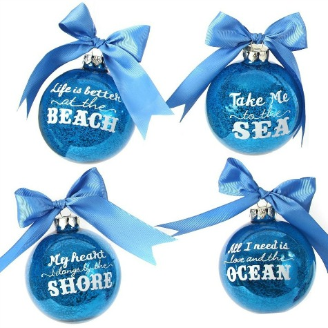 Blue Beach Quote Ornaments