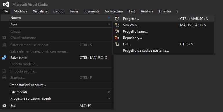 Visual Studio, Nuovo Progetto