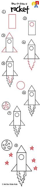 Cara Mudah Menggambar Roket Untuk Anak-Anak