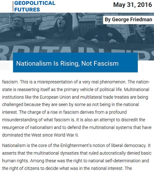 Ο εθνικισμός που ανεβαίνει, δεν είναι φασισμός