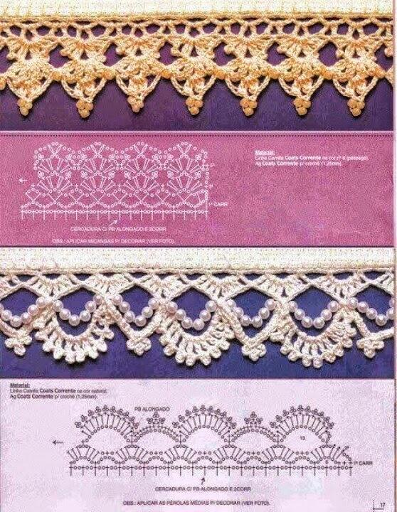 Puntillas al crochet con aplicación de perlas