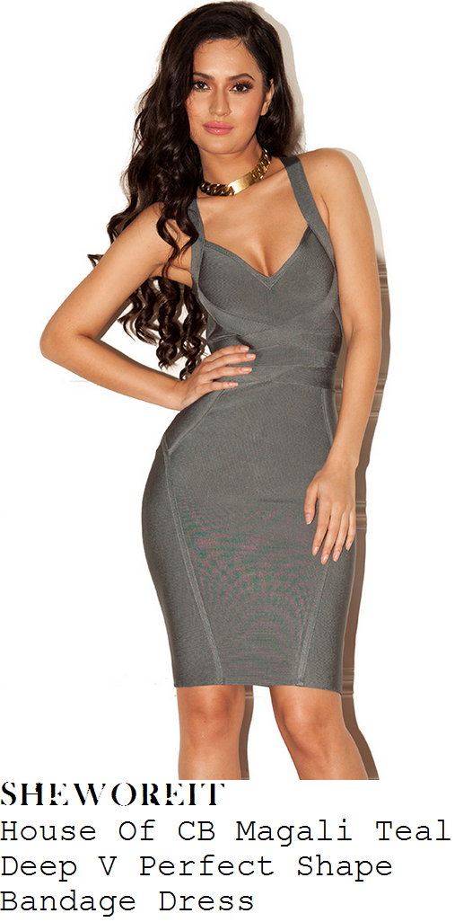aeec2db1739d Kylie Jenner's House Of CB Magali Teal Grey Sleeveless Plunge Front Deep V  Neckline Panel Detail Perfect Shape Bodycon Bandage Dress With Cross Over  Straps ...