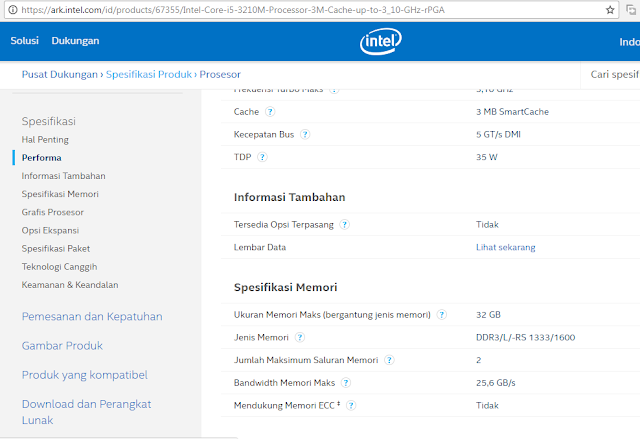 spesifikasi processor intel core i5 3210m