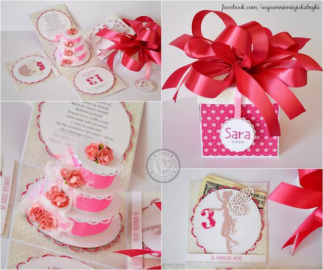Słodki torcik w pudełeczku na 3 urodziny Sary