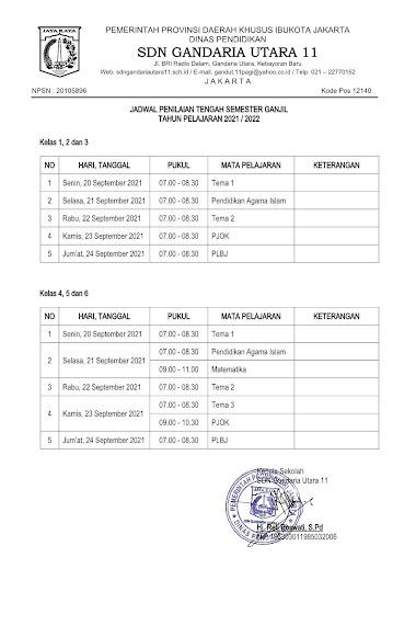 Jadwal Penilaian Tengah Semester Ganjil Tahun Pelajaran 2021/2022