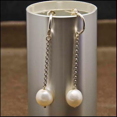Pendientes de cadena de plata y perlas. Joyería Artesanal Personalizada