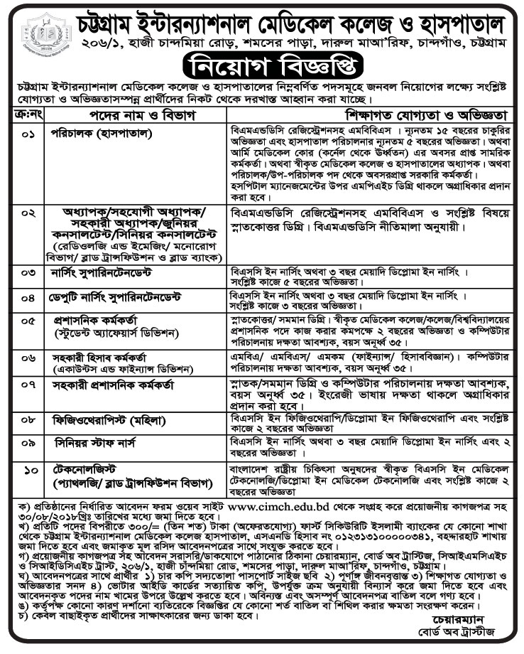 Chattagram International Medical College & Hospital (CIMCH) Job Circular 2018