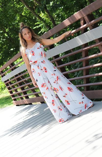 flowy floral white jumpsuit