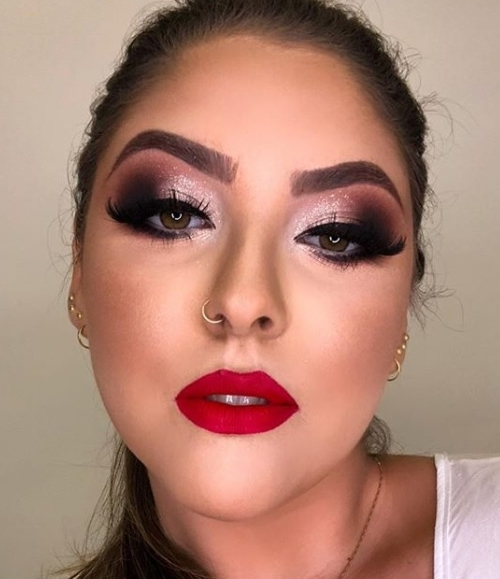 maquiagem de festa batom vermelho