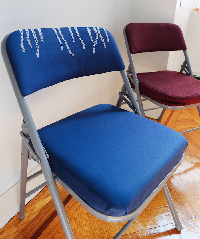 Folding Chair Embroidered Sling Replacement For Patio Chairs Up Cycled Knitknitknits Hope You Enjoyed My Makeover As Much I Did