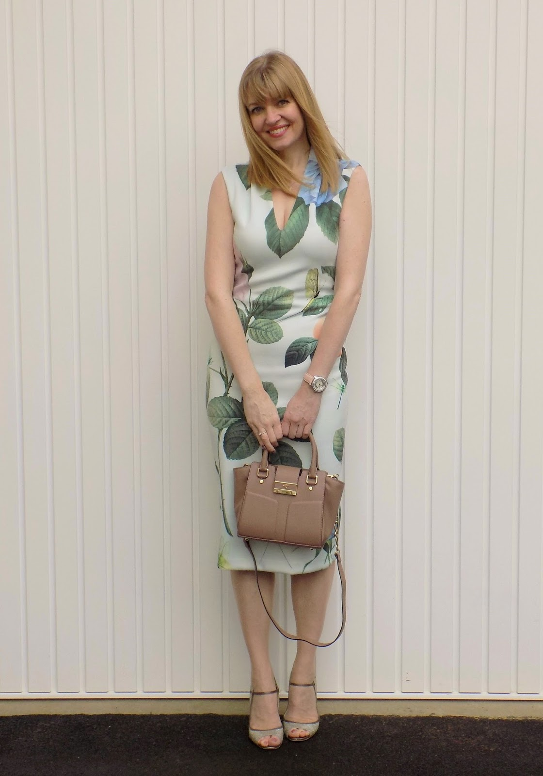 Ted Baker midi dress and Jimmy Choos