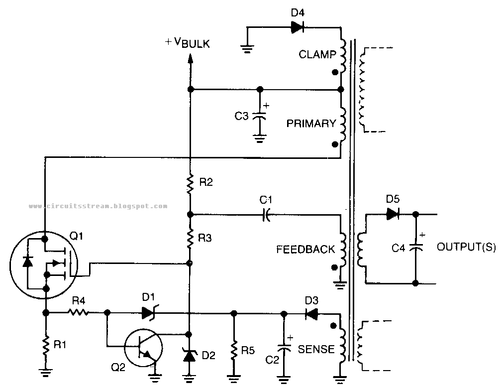 simple self oscillating switching converter circuit