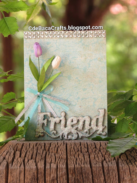 Handmade Friends Card with Tulip Flowers for Inspiration by CdeBaca Crafts Blog.