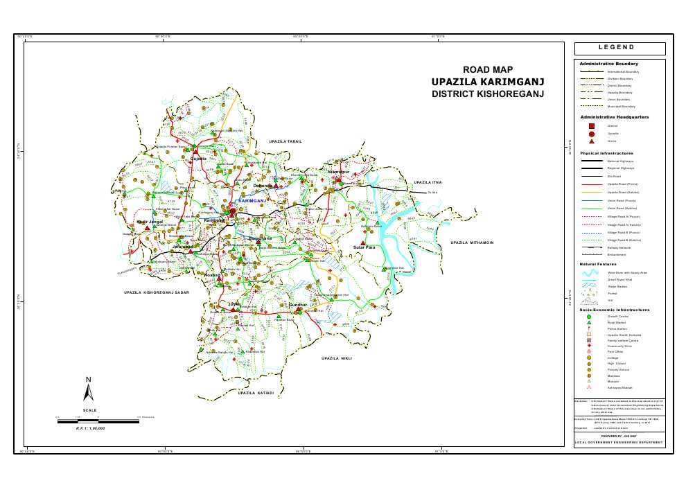 Karimganj Upazila Road Map Kishoreganj District Bangladesh