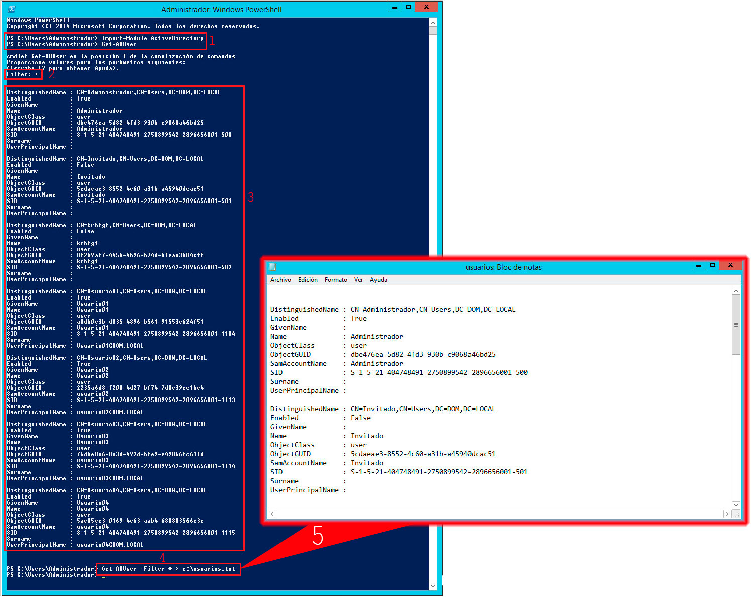 Pantallazos es: Windows 2012 PowerShell: Listar usuarios de Active