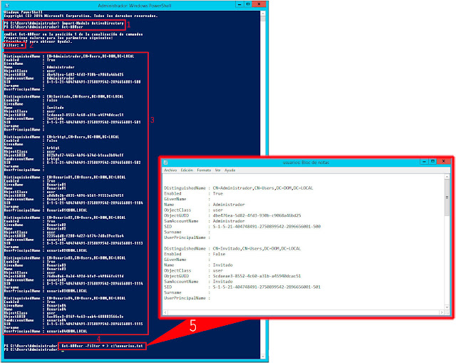 Windows 2012 PowerShell: Listar usuarios de Active Directory a un archivo de texto - Get-ADUser -Filter * > c:\usuarios.txt