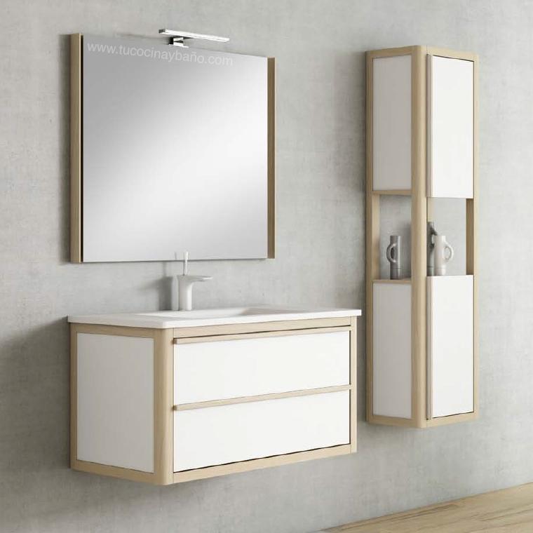 mueble baño nordico blanco madera precio suspendido
