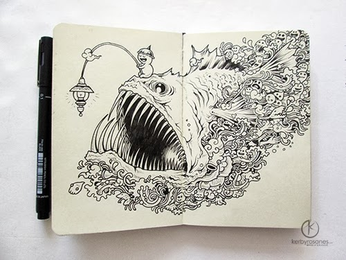02-Angry-Angler-Filippino-Artist-and-Illustrator-Kerby-Rosanes-Pen-Doodles-www-designstack-co