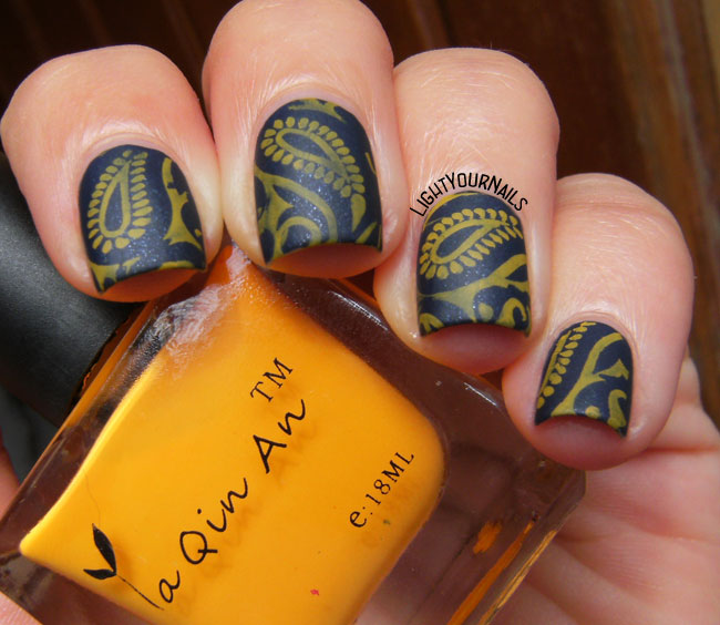 Blue and yellow paisley nail stamping mattified