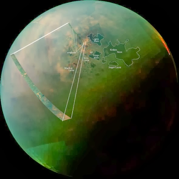 Annotated infrared mosaic of Titan's north pole