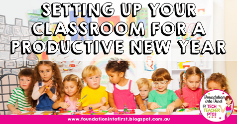 Setting up your classroom for a productive new year. Back to school decor ideas that are purposeful and don't over stimulate your students. #foundationintofirst #teacherblog #decor #backtoschool