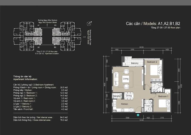 Mặt bằng căn hộ A1 A2 B1 B2 - 78m - The Legend