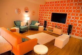 Diseño sala sofá naranja