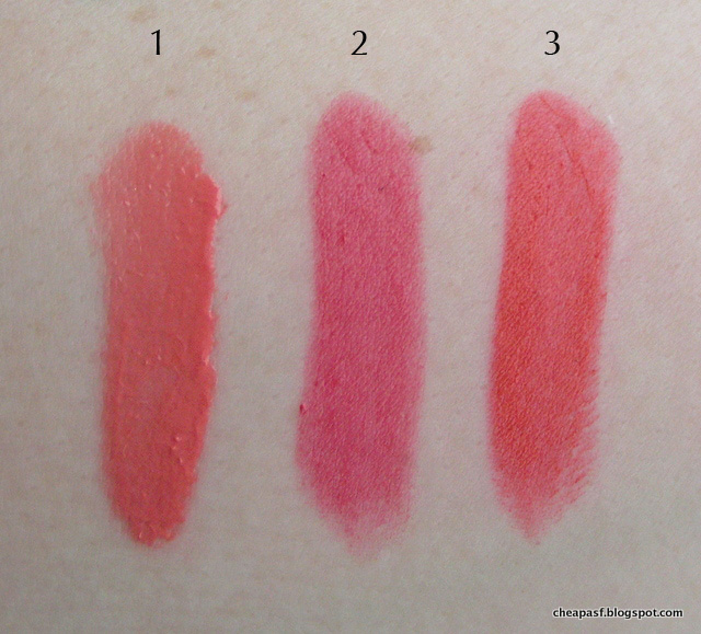 Swatches of 1. Urban Decay Vice Lipstick in Snitch; 2. NYX Butter Lipstick in Little Susie; and 3. Wet N Wild Balm Stain in Coral of the Story.