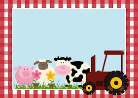 Para hacer invitaciones, tarjetas, marcos de fotos o etiquetas, para imprimir gratis de Fiesta de la Granja.
