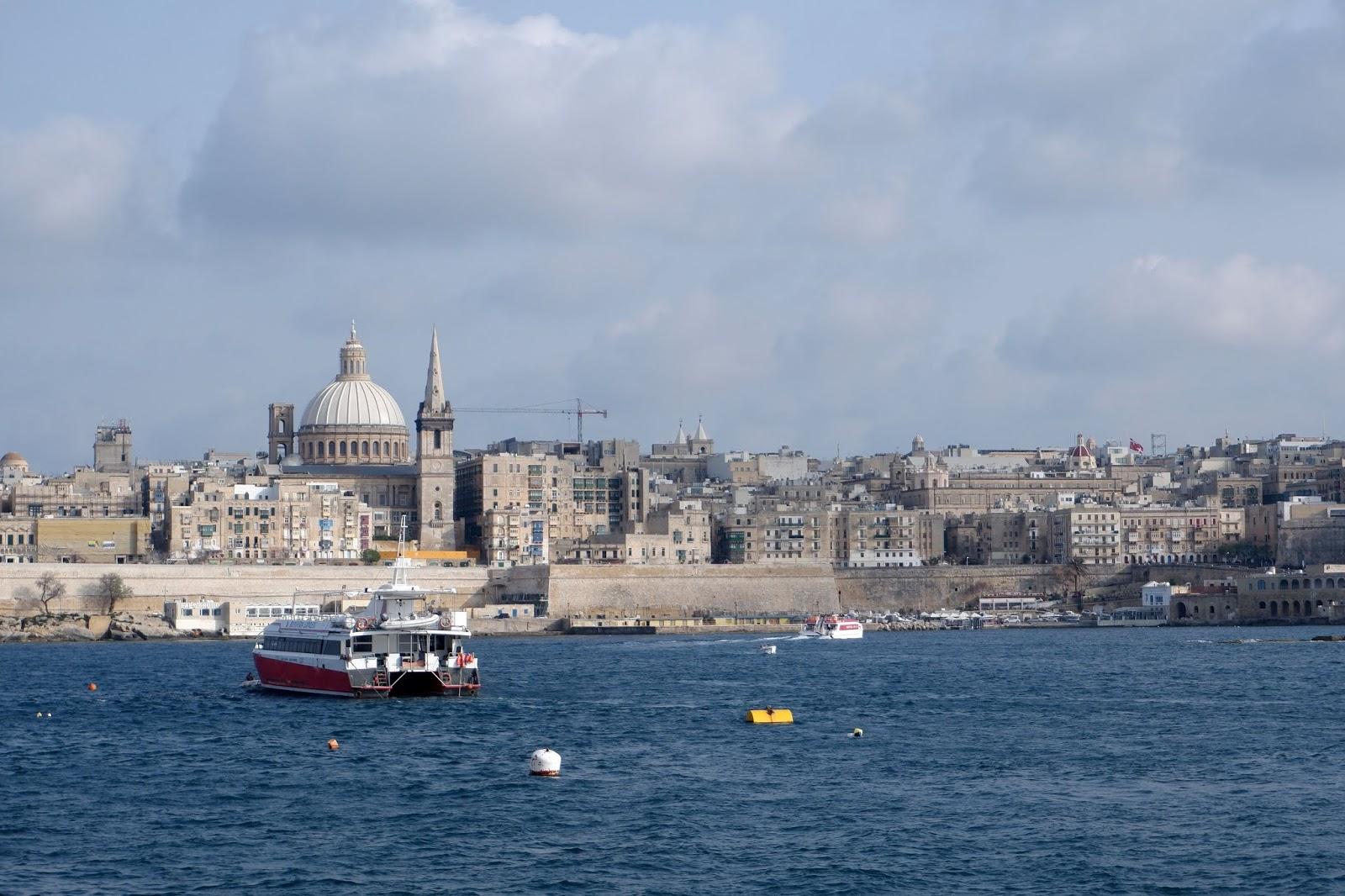 Views of the Maltese capital Valletta from Sliema Harbour, Malta