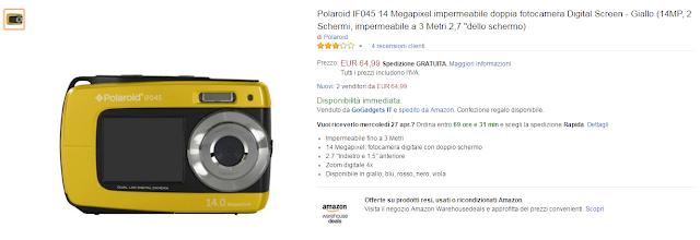 """Polaroid IF045 14 Megapixel impermeabile doppia fotocamera Digital Screen - Giallo (14MP, 2 Schermi, impermeabile a 3 Metri 2,7 """"dello schermo)"""