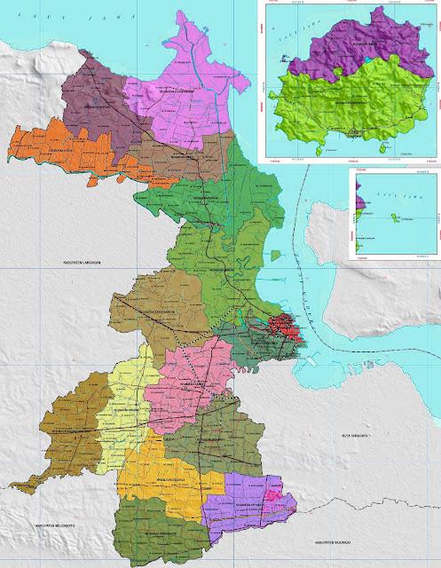 Gambar Peta Administrasi Kabupaten Gresik ukuran HD